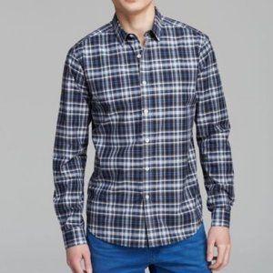 Theory Blue Woven Plaid Mens Shirt Slim Fit